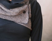 Lightweight black sweater with cowl and asymmetric color block detail. Thumbhole sleeves and elbow patches. Made to order, custom sized.