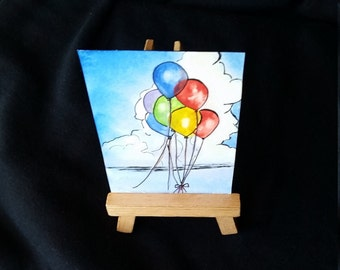 Mini Art Balloons Float Away Out to Sea Painting Original Watercolor Balloon Release Celebration Birthday Balloons Whimsical Art Gift Cheers