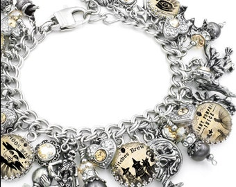 Halloween Jewelry, Holiday Bracelet, Fresh Water Black Pearls, Witch jewelry, Halloween Charm Bracelet, Halloween Gift