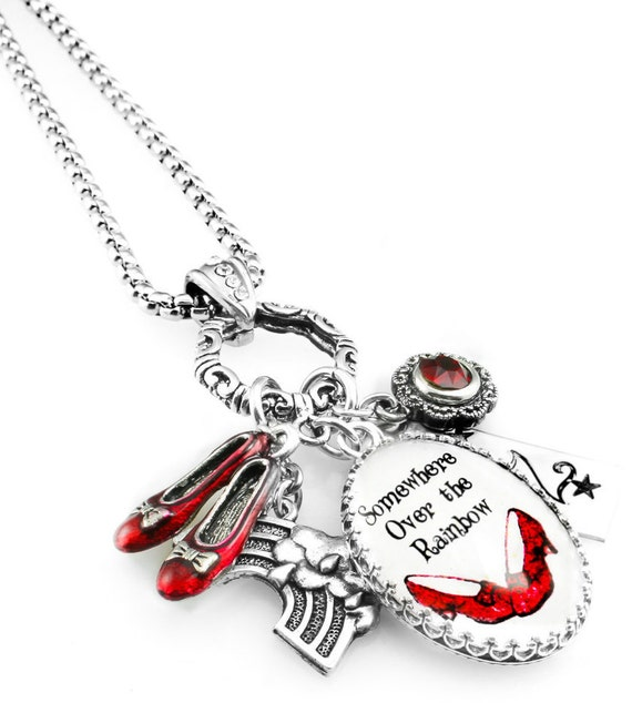 Wizard of Oz Necklace, Wizard of Oz Jewelry, Glass Pendant, Somewhere Over the Rainbow, Ruby Red Slippers