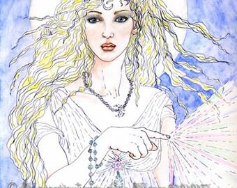 Blonde Fairy Full Moon Goddess Tuatha de Dannan Print Magickal Fantasy Art Pen & Ink Watercolour Fae Faerie Illustration Magick of Moonbeams