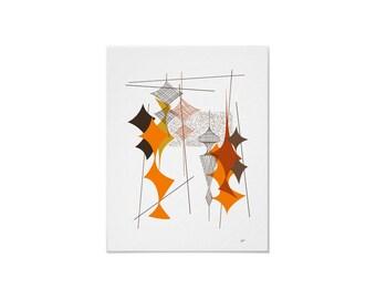 Diamand #1 Art Print Retro Atomic Modern by Tonya Newton in Various Sizes & Papers