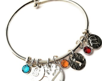 Personalized Mom Initial Bangle Bracelet Initials Birthstones, Inspirational Bracelet Sterling Silver Adjustable Bangle Mother's Day Gift