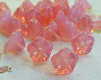 Czech Pink Opal Tulip Glass Beads  (17-11-1)
