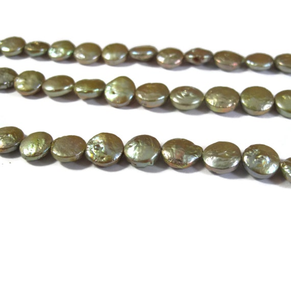 Freshwater Pearl Beads, Light Green Coin Pearls, 16 Inch Strand of Lime Freshwater Coin Pearls, 8.5mm (P-C8)