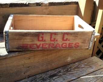 Vintage Wooden Soda Crate GCC Beverages Inc Advertising Crate Industrial Decor
