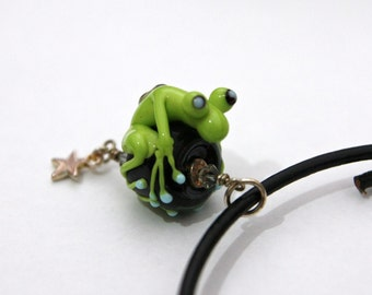 Caruso the Lime Green Handmade Glass Frog Bead Pendant With Star Charm on Black Leather Necklace