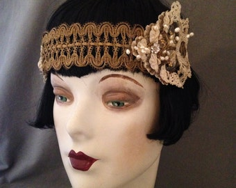1920s Headband ,Gatsby Bridal  Headpiece , Components c. 1900 - 1920, Freshwater Pearls, Metallic Lame Trims, Stunning