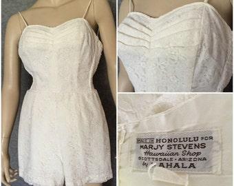 WOW ! 1950s White Lace Hawaiian Sunsuit, Romper, Swimsuit, Bathing Suit by  Kahala, Tiki Oasis