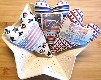 July 4th Patriotic Large Heart Bowl Fillers Set of Three