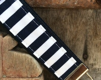 READY TO SHIP-Beautiful Key Fob/Keychain/Wristlet-White and Navy Stripes on navy