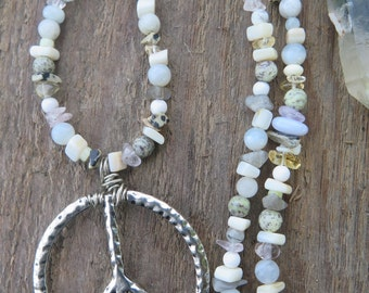 Long Stone Peace Sign Necklace - Neutral Pastel White Beige - Earthy Bohemian Jewelry - Gemstone Funky Boho Chic - Good Vibe Tribe - Crystal