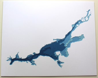 Lake Wisconsin - original 8 x 10 papercut art in your choice of color