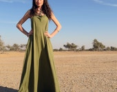 Organic Dress - Float Neck Racer Back Tank Wanderer Long Dress ( organic tissue cotton knit )