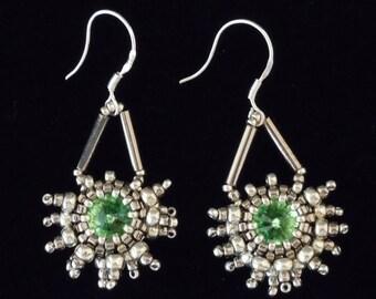 Star Beaded Snowflake Earrings, Silver Earrings, Evening Jewelry, Seed Bead Earrings, Crystal Earrings, Bridal Earrings,