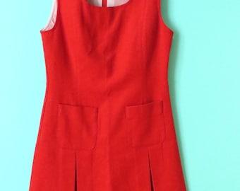 Red School Girl Dress // 1960's Uniform // Wool // XS