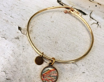Custom or Personalized Map Charm Banle / Personalized Jewelry / Map Pendant / Map Bangle Bracelet / Custom Charm Bracelet -  by Allie M.