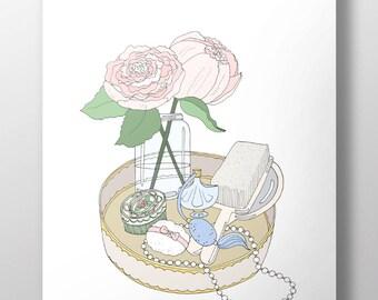 Vintage Boudoir Tray Decorative Illustration Art Poster