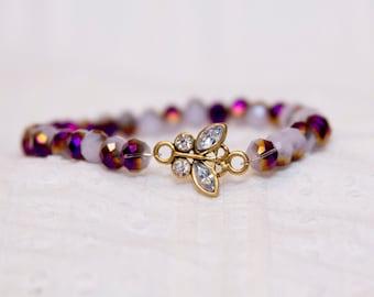 Butterfly bracelet, purple butterfly bracelet, jewelry for bride, gift for mom, crystal butterfly charm, purple and gold bracelet, butterfly