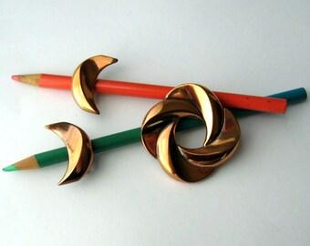 Renoir Jewelry Copper Pin + Earrings 50s Modernist Jewelry Vintage Brooch + Clip On Earrings