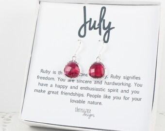 July Birthstone Silver Framed Dangle Earrings, Ruby Silver Earrings, Ruby Birthstone Earrings, July Birthday Gift, Bridal Earrings, #794