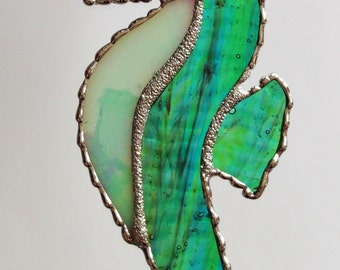 Stained Glass Seahorse Suncatcher Ornament