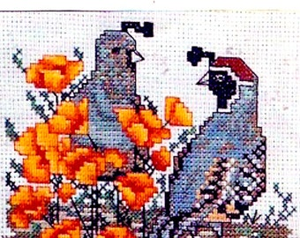 Quail and Poppies counted cross stitch needlework DIY Kit  Artventures 80s design Jean Lanning Complete Unused