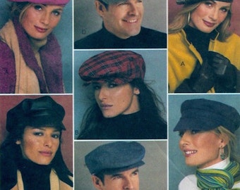 Mens Womens hats Summer Fall Poorboy Newsboy Chapeaus Beret McCalls 3835 All sizes UNCUT  Unisex fashion