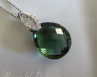 Green Amethyst Prasiolite Pendant-CZ-Sterling Silver Necklace