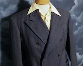 Vintage 1930s Men's Blue Striped Double Breasted Beltback Belted Back Jacket - Large