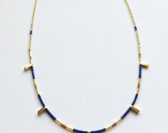 Necklace with blue lapis, gold bugle beads & seed beads