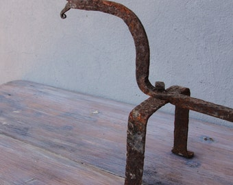 Vintage Fireplace Andirons, Hand forged Iron Wrought Firedog, Single Andiron, Rusty Patina, Fireplace dog 1930's