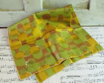 Vintage Vera Silk Scarf - Gold, Green, and Brown