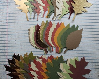 82 piece Autumn colored cardstock, plain, glittered, metallic tattered leaf die cuts 3 styles 25+ of each