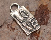 Love on a Rectangle Charm in Sterling Silver, AD11