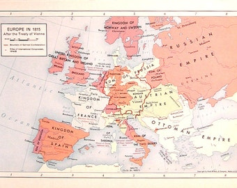 Europe in 1815 - 1957 Vintage Map - Vintage Atlas Page - Historical Map - Old Map - Rand McNally Map - Colored Map - 11 x 7