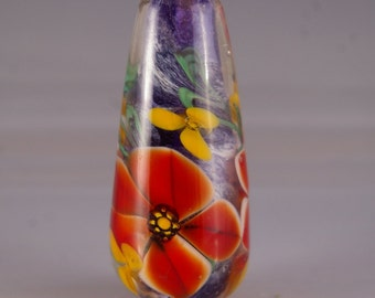 Lampwork  Focal Bead - Encased Floral