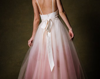 Ombre Dip Dyed Tulle Ballgown Wedding Dress