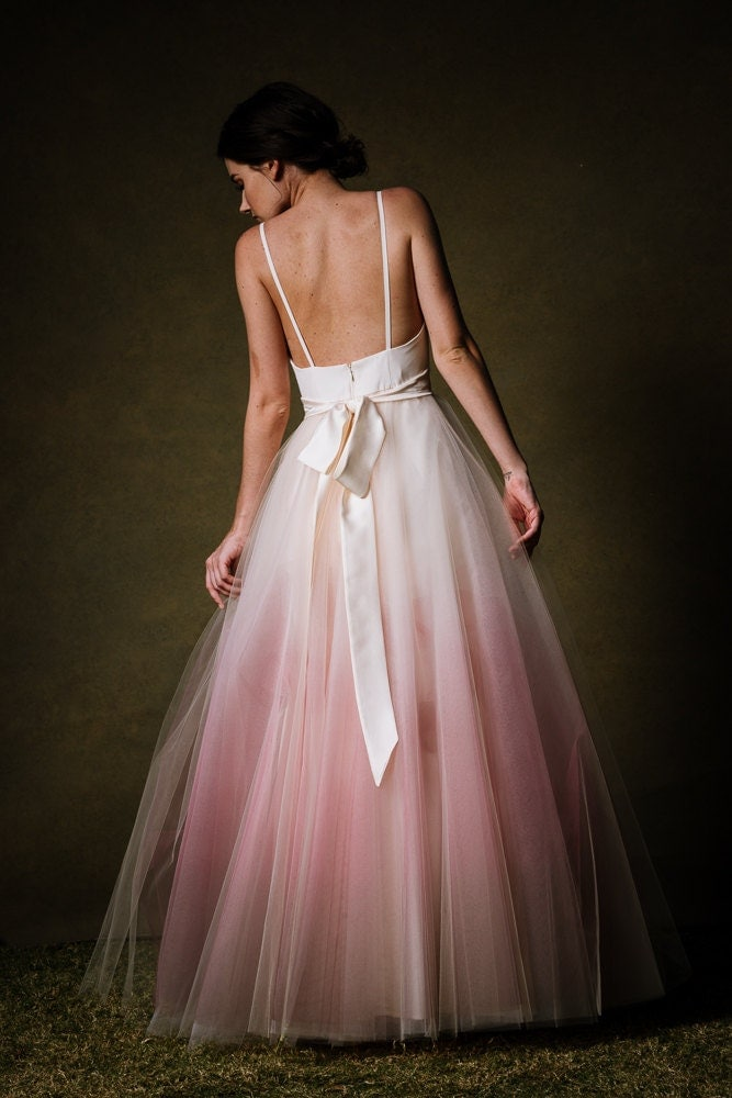 Ombre Dip Dyed Tulle Ballgown Wedding Dress Sunset By Cleo