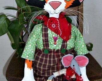 Cat Doll Pattern, Cloth Doll Pattern, Primitive Doll Pattern, Cloth Cat Pattern, Doll Pattern, Downloadable Sewing Pattern, Mattie Mouser