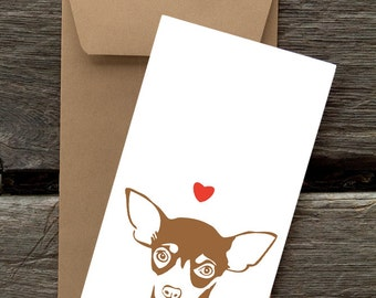 Chihuahua with Heart -- 8 Blank flat cards and envelopes