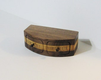 Treasure Box With Two Drawers Made Of Walnut And Bamboo Woods