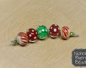 Holiday Dots - Set of 5 Handcrafted Lampwork Glass Beads