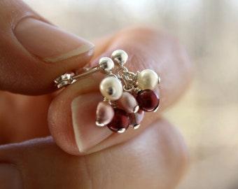 Cluster Stud Earrings . Red Pearl Earrings . Small Silver Post Dangle Earrings . Pink Pearl Stud Earrings - Geranium Collection