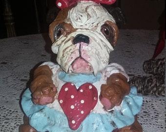 Folk art English Bulldog Doll Original Whimsical k