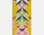 Love Birds iphone case- Samsung phone cover-yellow-pink-green-birds-butterflies-animal collage
