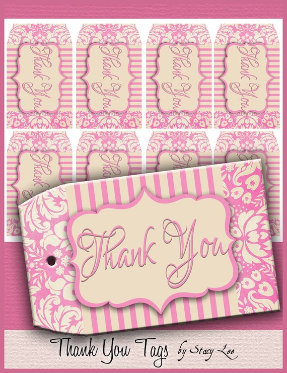 Printable Thank You Tags with Pink Damask Digital Download Collage Sheet- Great to use with completed Etsy Orders! No. 43