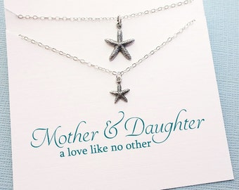 Mother Daughter Necklace Set | Starfish Necklace, Mother Daughter Jewelry Set, Beach Jewelry, Gifts for Mom, Mother Daughter Gift | MD04