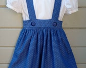 Vintage School Girl Skirt with Peter Pan Collar Blouse Custom Made in sizes 2T through 8