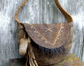 Tribal Tapestry and Distressed Leather Crescent Hobo Bag by Stacy Leigh